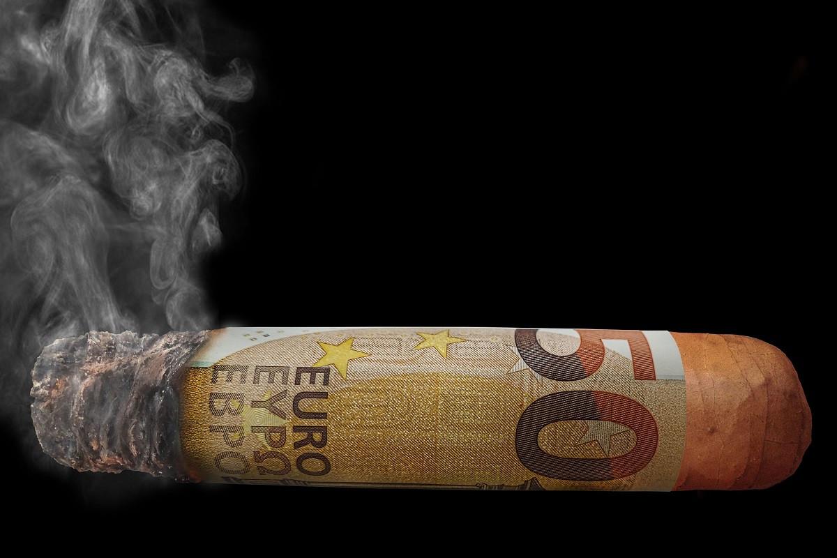 eurosigaar opbrandend